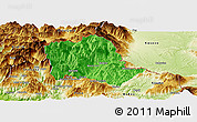 Political Panoramic Map of Tropojë, physical outside
