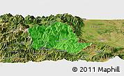Political Panoramic Map of Tropojë, satellite outside