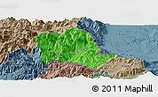 Political Panoramic Map of Tropojë, semi-desaturated