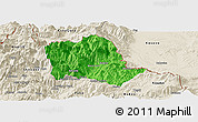 Political Panoramic Map of Tropojë, shaded relief outside