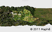Satellite Panoramic Map of Tropojë, darken