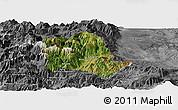 Satellite Panoramic Map of Tropojë, desaturated
