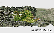 Satellite Panoramic Map of Tropojë, semi-desaturated