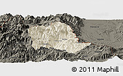 Shaded Relief Panoramic Map of Tropojë, darken