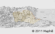 Shaded Relief Panoramic Map of Tropojë, desaturated