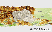 Shaded Relief Panoramic Map of Tropojë, physical outside