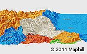 Shaded Relief Panoramic Map of Tropojë, political outside