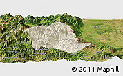 Shaded Relief Panoramic Map of Tropojë, satellite outside