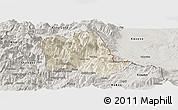 Shaded Relief Panoramic Map of Tropojë, semi-desaturated