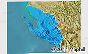 Political 3D Map of Vlorë, satellite outside
