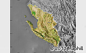 Satellite Map of Vlorë, desaturated
