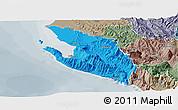 Political Panoramic Map of Vlorë, semi-desaturated