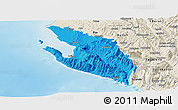 Political Panoramic Map of Vlorë, shaded relief outside