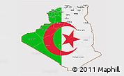 Flag 3D Map of Algeria, flag centered