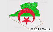 Flag 3D Map of Algeria, flag aligned to the middle