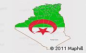 Flag 3D Map of Algeria, flag rotated