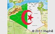 Flag 3D Map of Algeria, physical outside