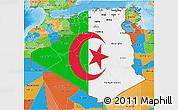 Flag 3D Map of Algeria, political outside