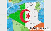 Flag 3D Map of Algeria, political shades outside