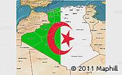 Flag 3D Map of Algeria, satellite outside