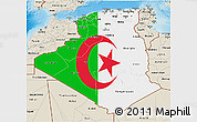 Flag 3D Map of Algeria, shaded relief outside