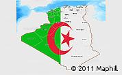 Flag 3D Map of Algeria, single color outside, bathymetry sea
