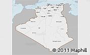 Gray 3D Map of Algeria, single color outside