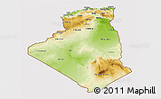 Physical 3D Map of Algeria, cropped outside