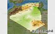 Physical 3D Map of Algeria, darken