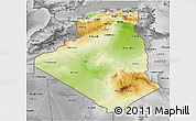 Physical 3D Map of Algeria, desaturated