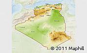 Physical 3D Map of Algeria, lighten