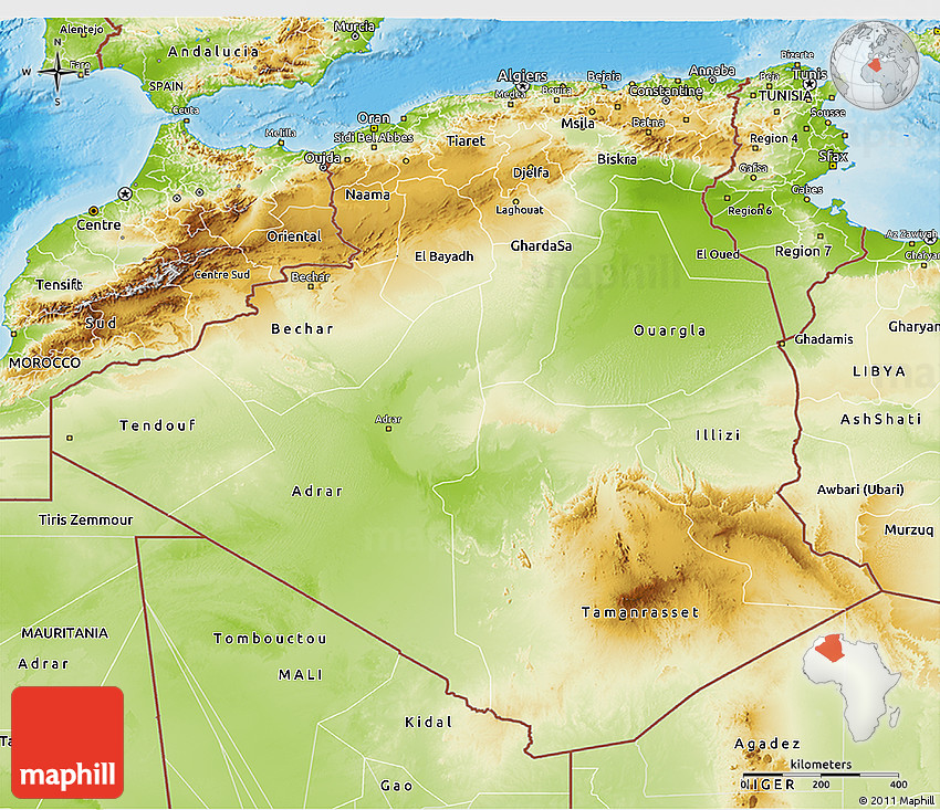 Physical D Map Of Algeria - Algeria map