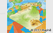 Physical 3D Map of Algeria, political outside, shaded relief sea