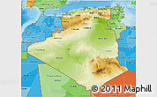 Physical 3D Map of Algeria, political shades outside, shaded relief sea