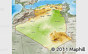 Physical 3D Map of Algeria, semi-desaturated, land only