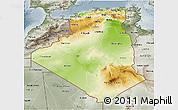 Physical 3D Map of Algeria, semi-desaturated
