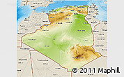 Physical 3D Map of Algeria, shaded relief outside