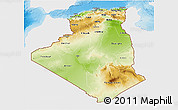 Physical 3D Map of Algeria, single color outside