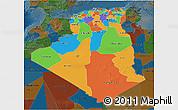 Political 3D Map of Algeria, darken