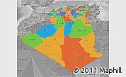 Political 3D Map of Algeria, desaturated