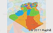 Political 3D Map of Algeria, lighten