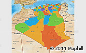 Political 3D Map of Algeria, satellite outside, bathymetry sea