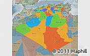 Political 3D Map of Algeria, semi-desaturated