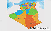 Political 3D Map of Algeria, single color outside