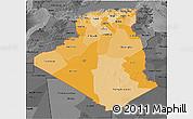 Political Shades 3D Map of Algeria, darken, desaturated