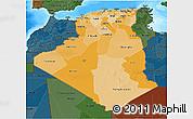 Political Shades 3D Map of Algeria, darken, land only