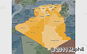Political Shades 3D Map of Algeria, darken, semi-desaturated