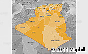 Political Shades 3D Map of Algeria, desaturated