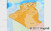 Political Shades 3D Map of Algeria, lighten, land only