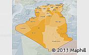 Political Shades 3D Map of Algeria, lighten, semi-desaturated